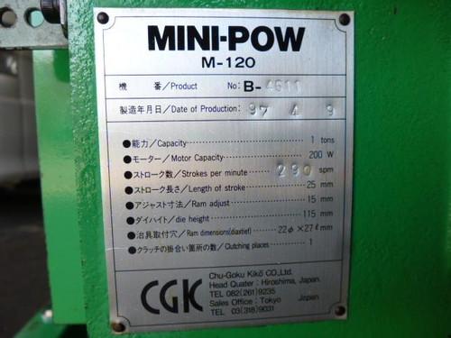 1.0Tプレス CGK   中国機工 MINI-POW M-120